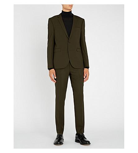HUGO Extra slim-fit wool suit (Dark+green