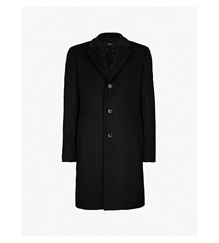 BOSS 单排扣羊毛和羊绒混纺大衣 (黑色