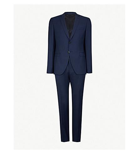 BOSS Slim-fit basketweave wool suit (Navy