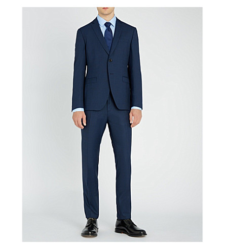 BOSS Slim-fit basketweave wool suit (Navy