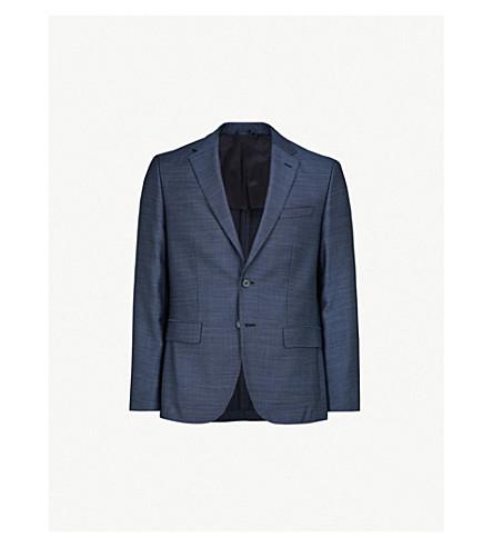 BOSS Regular-fit textured-wool jacket (Open+blue