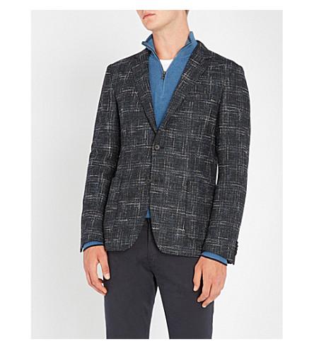 BOSS 对比编织羊毛混纺夹克 (开 + 蓝
