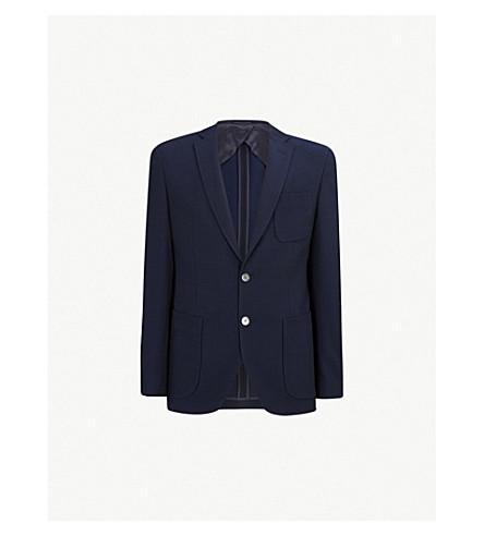 BOSS 常规版型棉和纯羊毛混纺夹克 (开 + 蓝