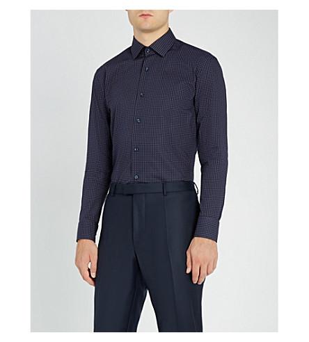 BOSS Tile-print slim-fit cotton shirt (Navy