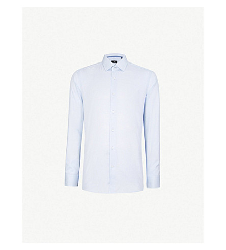 BOSS 几何图案修身版型棉衬衫 (浅色/粉彩 + 蓝色)