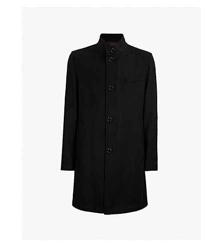 BOSS Buttoned virgin wool and cashmere-blend coat (Black