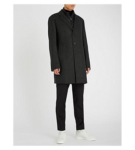 BOSS 马甲层羊毛混纺夹克 (深色 + 灰色