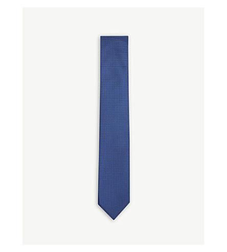 BOSS 钻石花纹真丝领带 (亮 + 蓝)