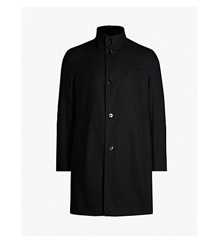 BOSS Funnel-neck cotton coat (Black