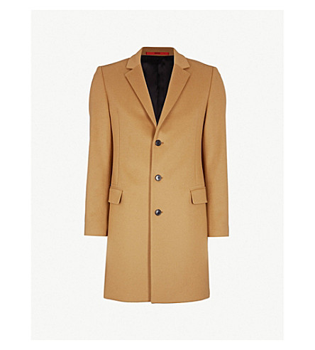 HUGO Single-breasted wool and cashmere-blend jacket (Rust/copper