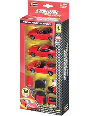 BURAGO Ferrari Race & Play triple playset
