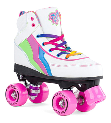 RIO ROLLER Candi PVC leather roller skates (White+multi