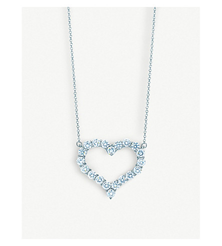 TIFFANY & CO Platinum and diamond heart pendant necklace