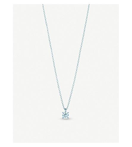 TIFFANY & CO Platinum and solitaire diamond pendant necklace