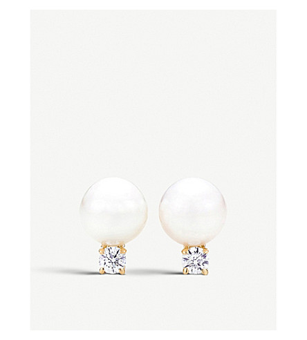 TIFFANY & CO 18ct gold, diamond and pearl earrings