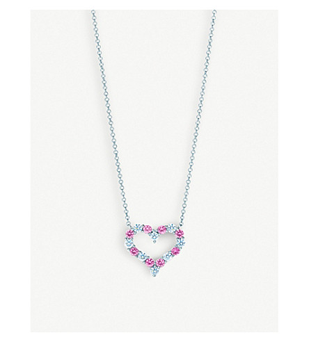 TIFFANY & CO Platinum, diamond and pink sapphire heart pendant necklace