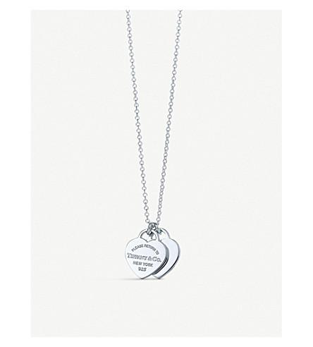 TIFFANY & CO Return to Tiffany mini double heart tag sterling silver pendant