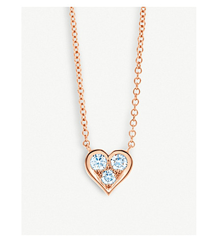 TIFFANY & CO 18ct rose-gold and diamond heart pendant necklace