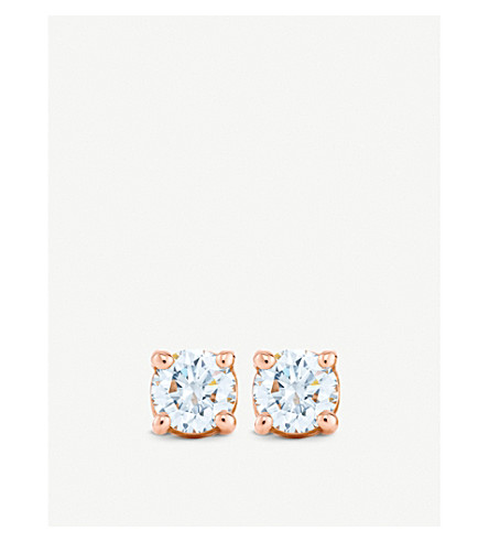 TIFFANY & CO 18ct rose-gold diamond solitaire earrings