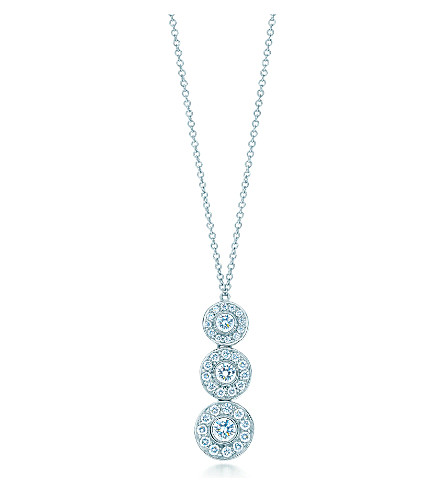 TIFFANY & CO Tiffany Circlet triple drop pendant of diamonds in platinum