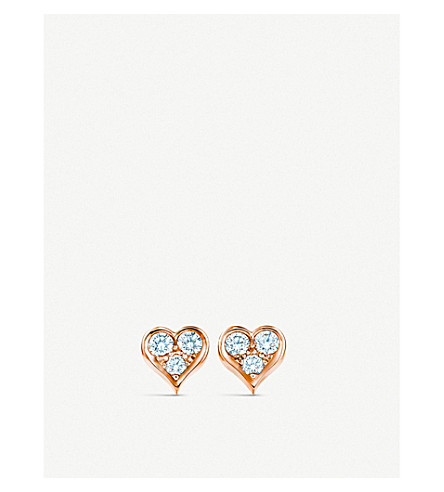 TIFFANY & CO 18ct rose-gold and diamond heart earrings