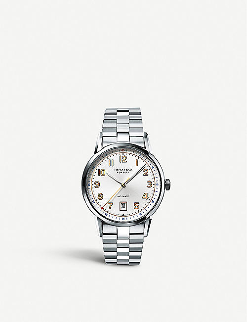 "tiffany co mens fine watches fine watches jewelry tiffany co tiffany ct60â""¢ 3 hand 40mm men s watch in stainless steel"