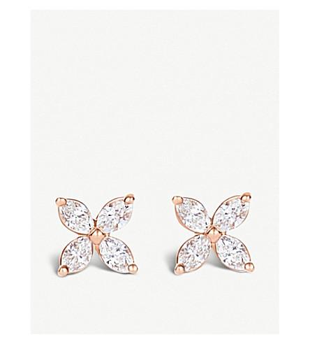 TIFFANY 和 CO 维多利亚18ct 玫瑰黄金和侯爵夫人钻石迷你耳环 (银