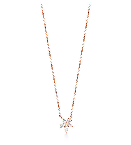TIFFANY & CO Mixed Cluster 18ct rose-gold and diamond pendant (Rose+gold