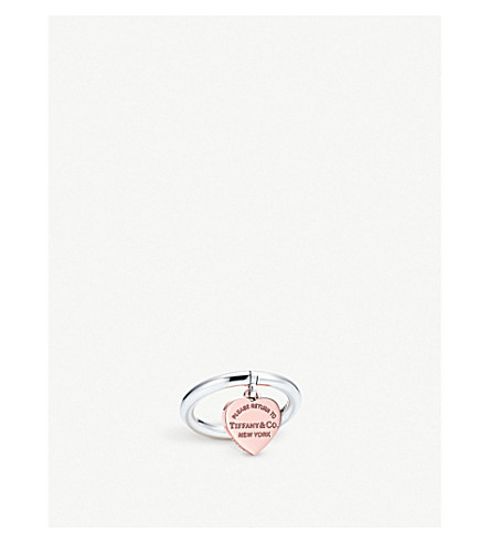 TIFFANY & CO Return to Tiffany™ Sterling Silver and RUBEDO® metal Heart Tag Ring