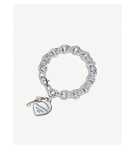 TIFFANY & CO Return to Tiffany™ Sterling Silver and RUBEDO® metal Heart Tag Bracelet