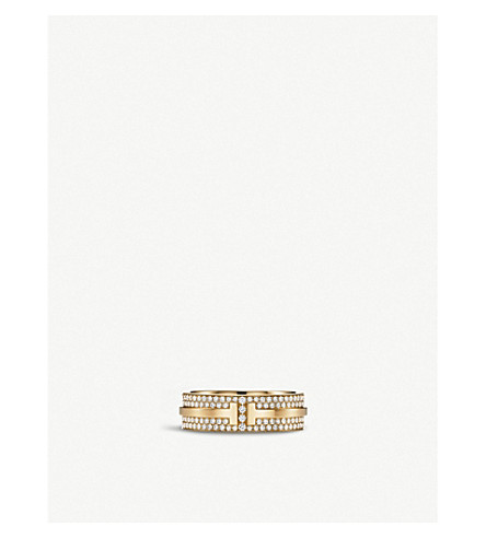 TIFFANY & CO 18ct gold and pavé diamond ring