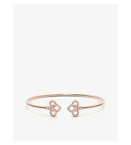 TIFFANY 和 CO 芙蓉中等18ct 玫瑰金和钻石手镯手镯 (玫瑰 + 黄金