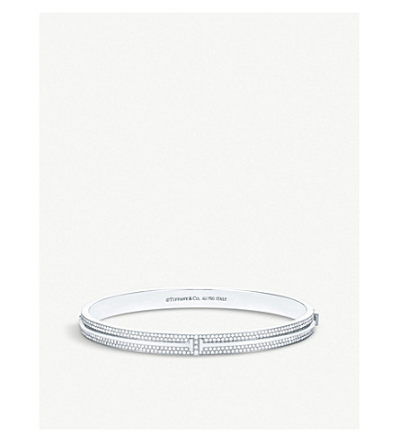 TIFFANY & CO Hinged 18ct white-gold and pavé diamond bangle