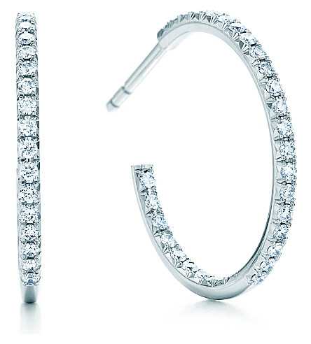 TIFFANY & CO Tiffany Metro hoop earrings with diamonds in 18k white gold