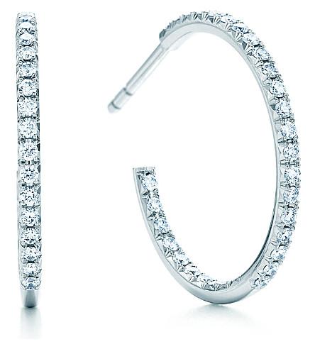 TIFFANY & CO Tiffany Metro hoop earrings with diamonds in 18k white gold