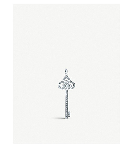 TIFFANY & CO Tiffany Keys fleur de lis key pendant in platinum with diamonds