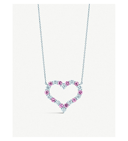 TIFFANY & CO Tiffany Hearts pendant with pink sapphires and diamonds in platinum