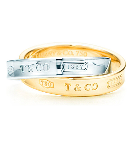 TIFFANY & CO Tiffany 1837™ interlocking circles ring in 18k gold and sterling silver