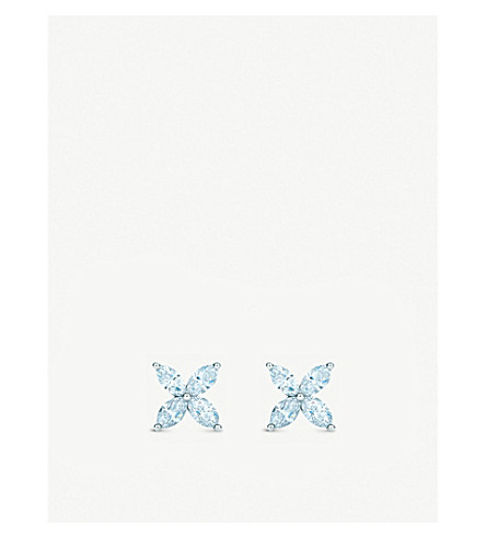 TIFFANY & CO Tiffany Victoria™ earrings in platinum with diamonds, medium