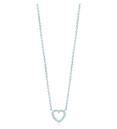 TIFFANY & CO Tiffany Metro heart pendant in 18k white gold with diamonds, mini