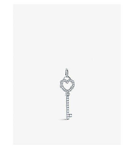 TIFFANY & CO Tiffany Keys heart key pendant with diamonds in platinum