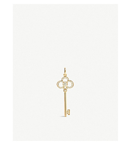 TIFFANY & CO Tiffany Keys crown key pendant in 18k gold with diamonds