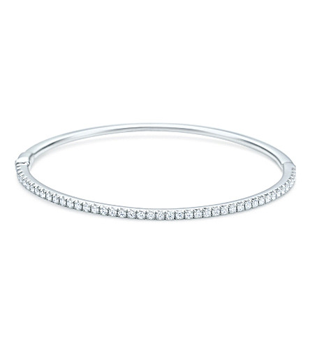 TIFFANY & CO Tiffany Metro hinged bangle in 18k white gold with diamonds