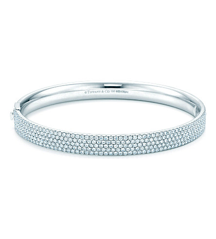 TIFFANY & CO Tiffany Metro five-row hinged bangle in 18k white gold with diamonds