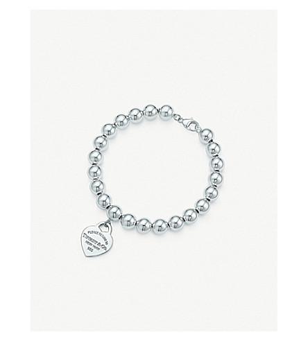 TIFFANY & CO Return to Tiffany small heart tag in sterling silver on a bead bracelet
