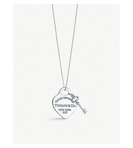 TIFFANY & CO Return to Tiffany heart tag with key pendant in sterling silver