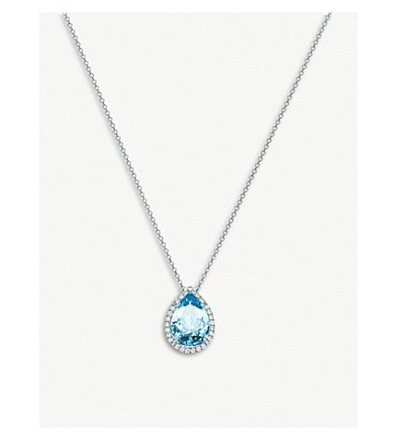 TIFFANY 和 CO Soleste 白金, 钻石和蓝宝石 teadrop 项链 (银