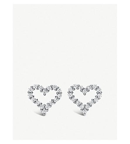 TIFFANY 和 CO TIFFANYHearts™额外的迷你白金和钻石耳环 (银