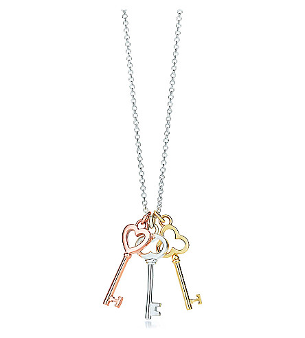 TIFFANY & CO Tiffany Keys mini three-key pendant in silver and 18k rose and yellow gold