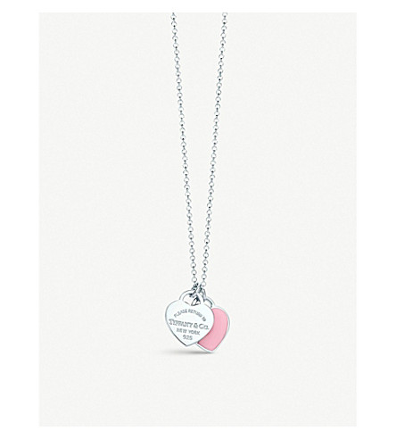 TIFFANY & CO Return to Tiffany™ mini double heart tag pendant in silver with enamel finish